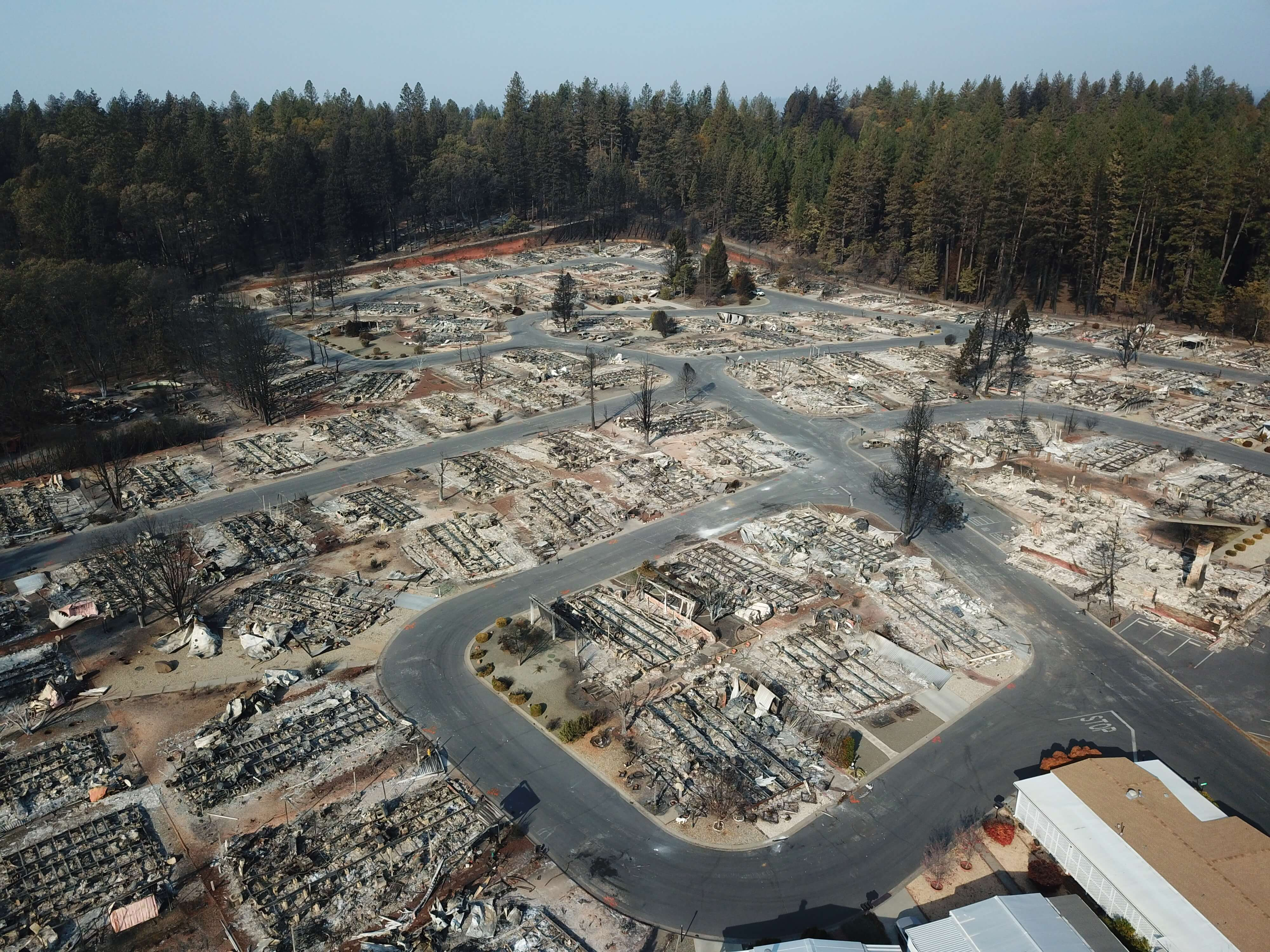 Aerial view of camp fire