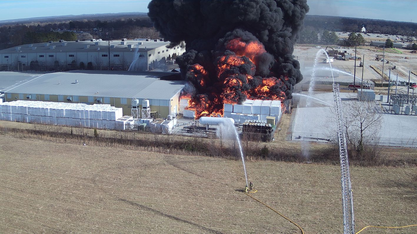 Drone perspective of an industrial fire