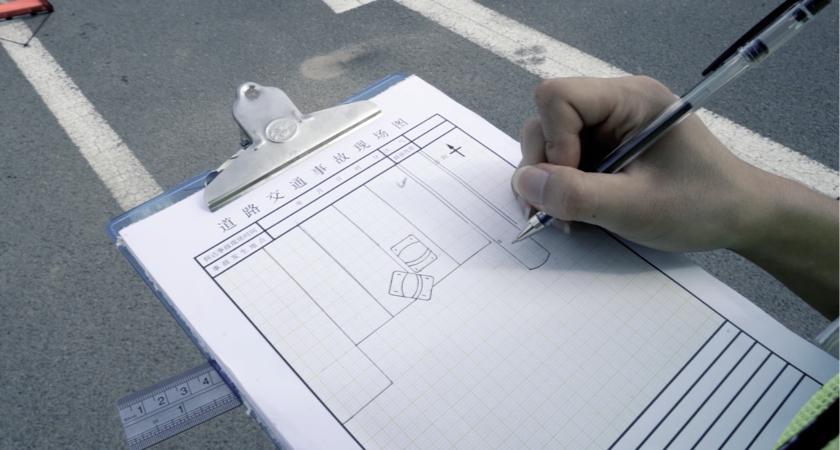 Accident Reconstruction SZ Police - Hand Drawn Collision Documentation