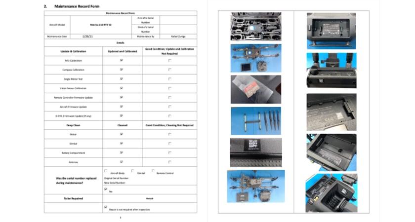 DJI Maintenance Report 2