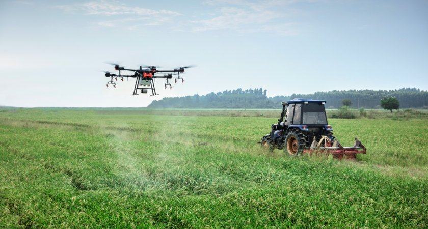 T16 Spraying Drone + Tractor