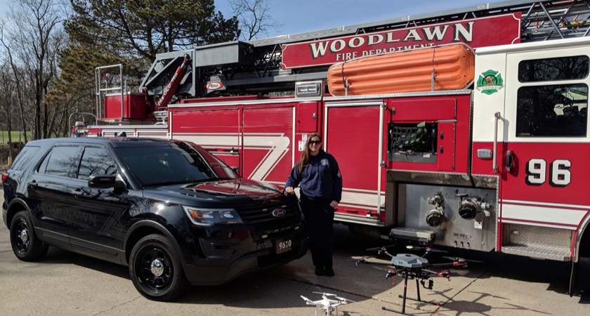 Katie Thielmeyer 6 with Woodlawn Fire Truck