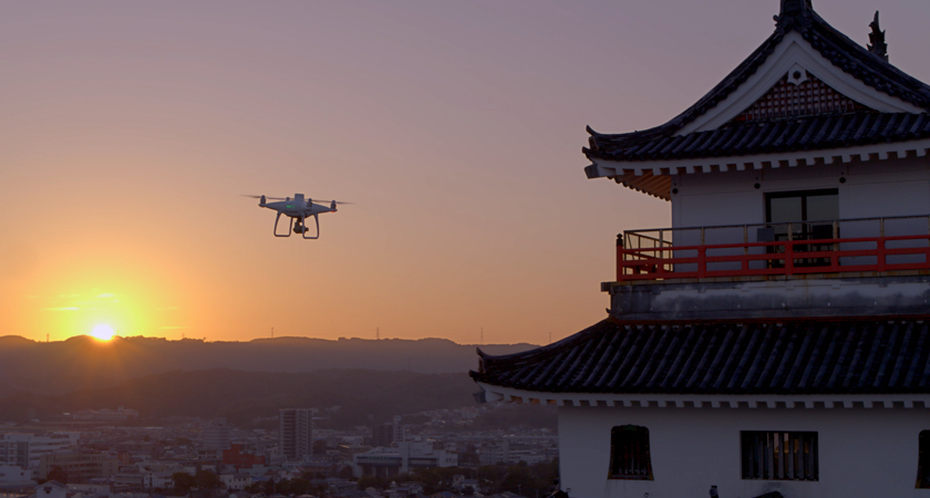 Karatsu Castle with drone