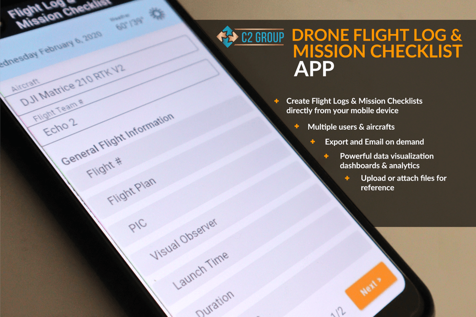 C2 graphic and app screen grab illustrate the many features of their fleet and flight management app, which was coded in-house.