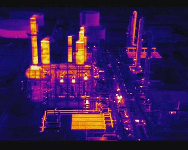 thermal drone imagery of refinery