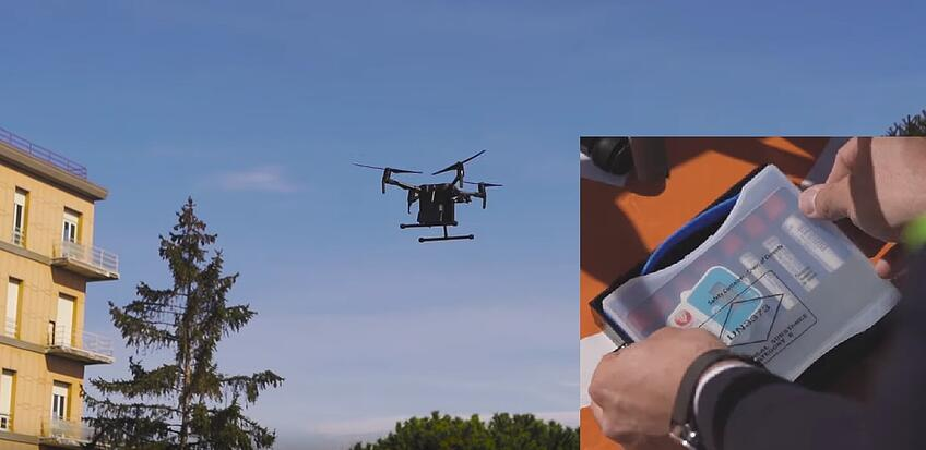 Scatola e drone coronavirus
