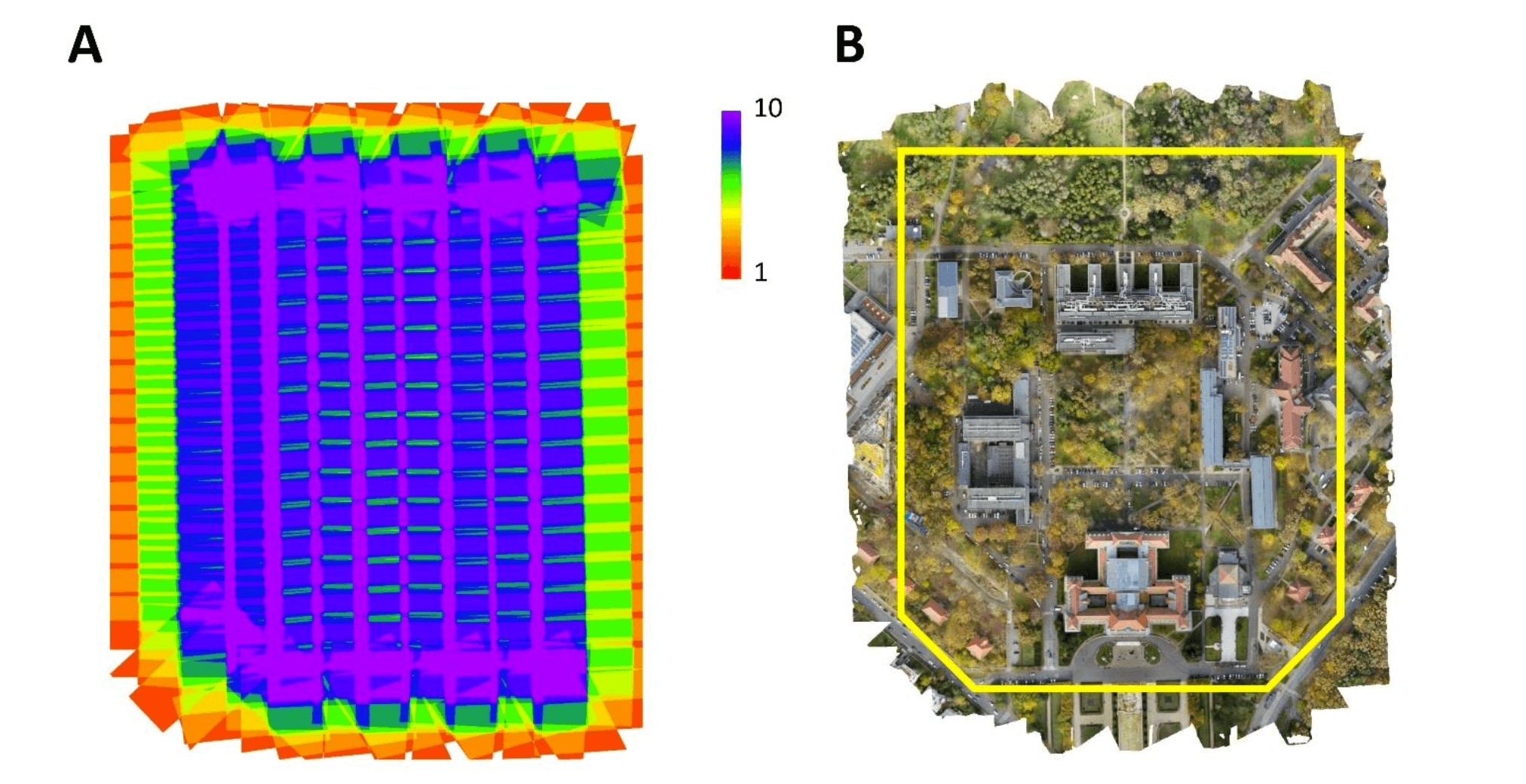Images taken by the commercial drone (A) and the sample area at the University of Aberdeen (B)