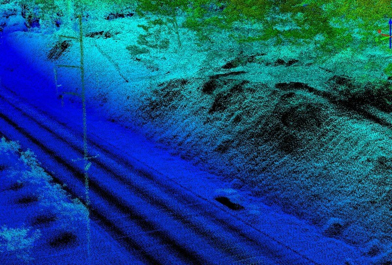 LiDAR point cloud of a accident
