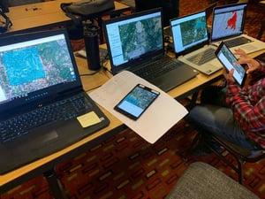 team processing drone data